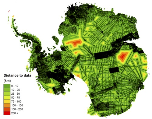 Bedmap2 data coverage - black lines are from ice-penetrating radar. Image from Fretwell et al. 2013