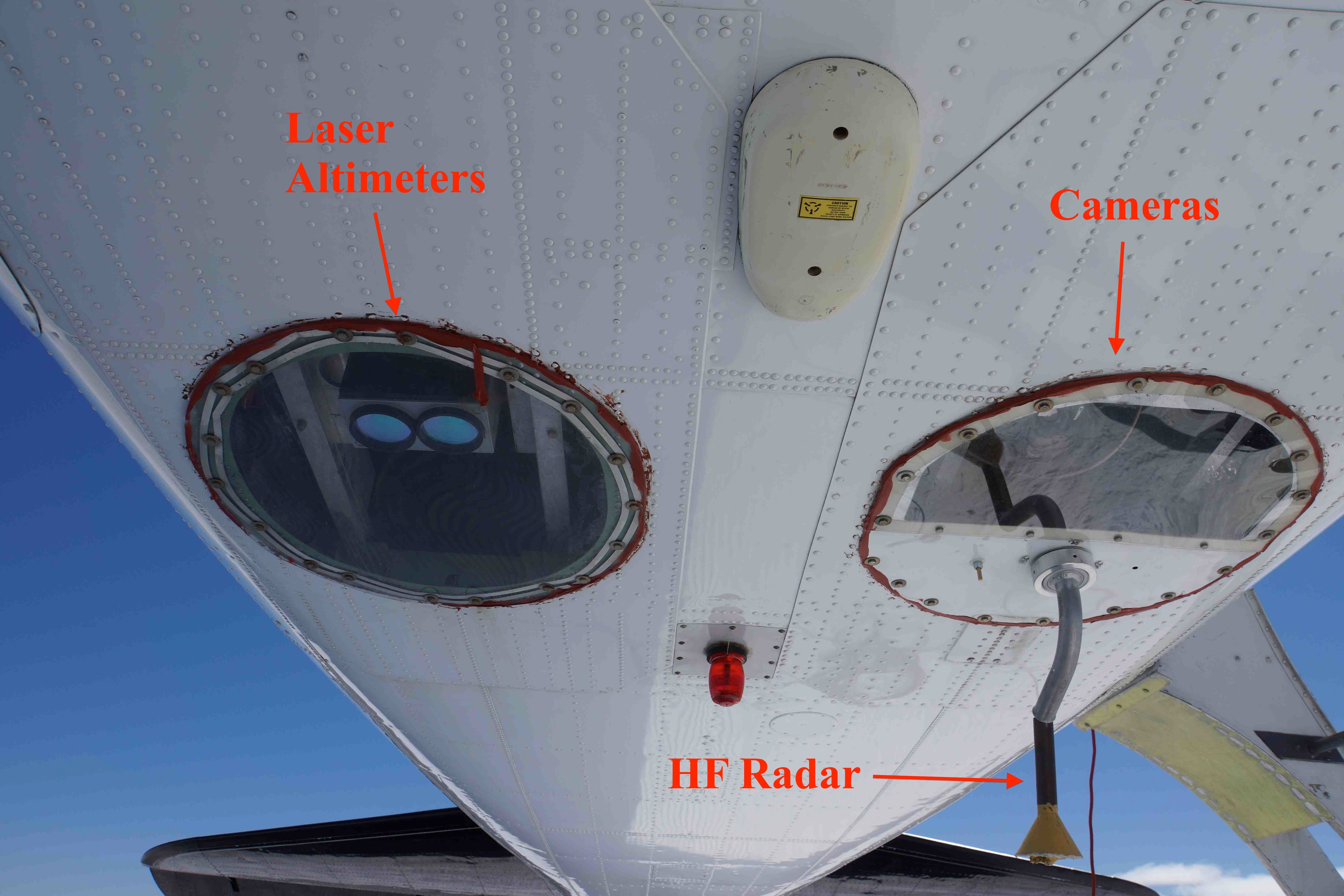 Image of bottom of airplane, with las and cam labeled. If can see it, also label where HF antenna comes out