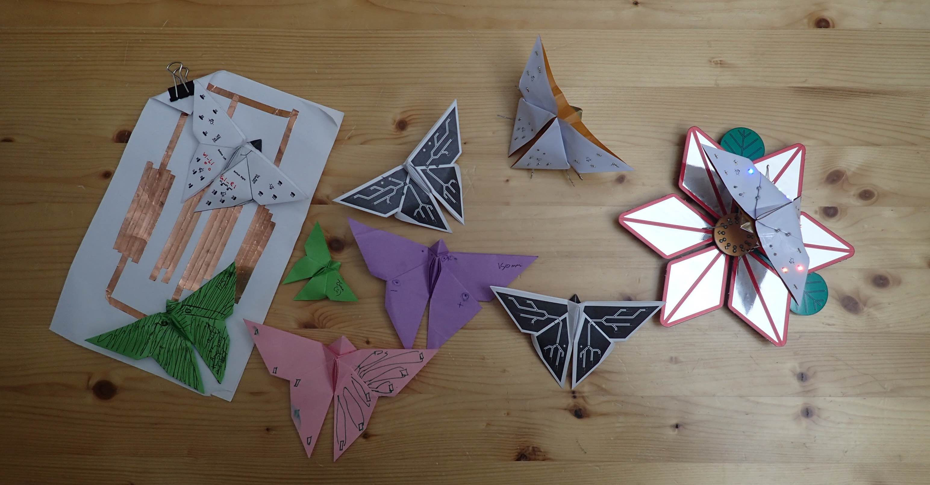 Assorted origami butterflies